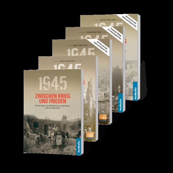 """Fünf Bände von """"1945. Zwischen Krieg und Frieden"""" sind bei mecklenbook erschienen."""